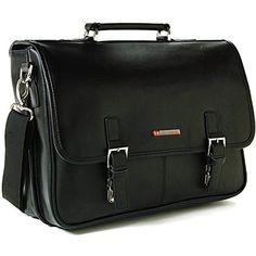 a334b32b1a Alpine Swiss Leather Briefcase Laptop Case Messenger Bag Black  fashion   clothing  shoes