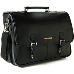 Alpine Swiss Leather Briefcase Laptop Case Messenger Bag Black  fashion   clothing  shoes   2aaf3389f9979