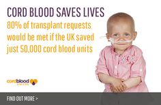 Cord Blood Saves Lives.  80% of transplant requests would be met if the UK saved just 50,000 cord blood units.