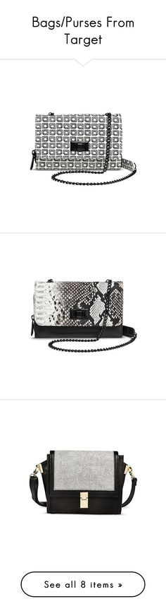 """Bags/Purses From Target"" by lanaebond ❤ liked on Polyvore featuring bags, handbags, shoulder bags, crossbody handbags, black crossbody purse, crossbody purse, python handbag, mossimo purse, clutches and black"