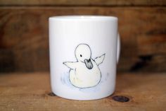 Hand painted animal mug  - Cute mug cup - dog mug cup - coffee mug- baby duck mug by CreativeStoneCera on Etsy