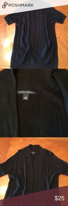 Shrug Style Cardigan Sweater Black Banana Republic Shrug style cardigan with a shawl collar style and short sleeves. Size M. Made of 68% cotton and32% viscose.   Very comfortable and in excellent condition no rips, tears or snags. Banana Republic Sweaters Cardigans