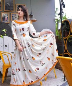 Magnificent Fancy Kurti Fabric: Rayon Sleeves: Sleeves Are Included Size: S - 36 in M - 38 in L - 40 in XL - 42 in. Kurti Neck Designs, Kurta Designs Women, Dress Neck Designs, Kurti Designs Party Wear, Blouse Designs, Indian Gowns Dresses, Pakistani Dresses, Maxi Dresses, Indian Designer Outfits
