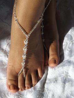 Swarovski Barefoot Sandal Beach Wedding Jewelry Anklet Wedding Foot Jewelry Beach Sandals Bridesmaids Gift on Etsy, $39.99