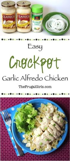 Crockpot Garlic Alfredo Chicken Recipe! ~ from TheFrugalGirls.com ~ you'll love this Delicious and Super-Easy Slow Cooker dinner dish! YUM!