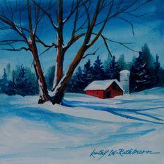 "Easy Acrylic Landscape Paintings Acrylic 6"" x 6"" landscape"