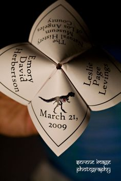 Dinosaur cootie-catchers for a natural history museum wedding!