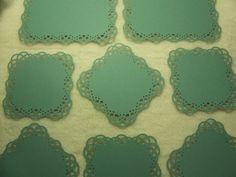 Scrapbook Piece Set of Very Elegant Swirling Lace Border Scrapbook Photo Mats Scrapbook Frames, Lace Border, Doilies, Card Stock, Embellishments, Teal, Texture, Elegant, Unique Jewelry