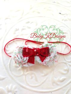 Christmas Peppermint Dot Candy Flowers and Sequin bow  Headband Baby K Designs