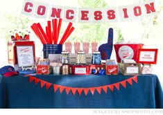 "Calling our snack table the ""Concession Stand"" - LOVE IT! It's where the candy jars, etc. will go!"