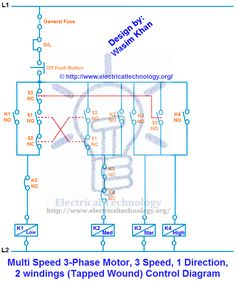 ON  OFF ThreePhase Motor Connection Power & Control Diagrams | Electrical Technology