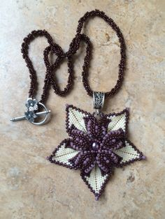 Flower Pendant with beaded chain. by BeadSplashHCJ on Etsy, $75.00