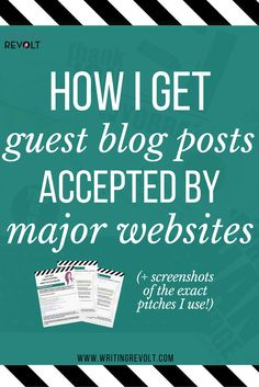 If you're a blogger or freelance writer, you're probably going to want to pitch a guest blog post at some point. This 2500-word guide will walk you through all the steps, and it even include screenshots of pitches that were accpeted. Check it out! :) (freelance writing tips, blogger tips, entrepreneur tips, make money writing online, how to write a pitch) https://www.writingrevolt.com/how-to-pitch-a-guest-post/