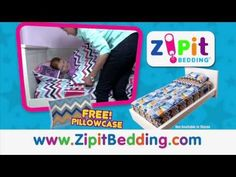 "Introducing Zipit Bedding. ""The Sleeping Bag for Your Bed!"" The Zipit Bedding sets, which are geared towards kids, aged 4-13 are bright, fun and uniquely themed with reversible tops that are pre-coordinated to inter-change with other Zipit Bedding sets; not to mention they all GLOW-IN-THE-DARK! Just Zipit! www.zipitbedding.com."