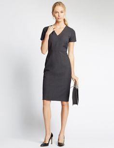 Multi Stitch Lined Short Sleeve Shift Dress