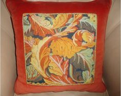Abstract Orange Needlepoint Pillow- Home & Garden Design Ideas