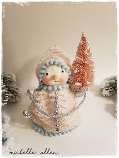 Folk Art paper Clay Pretty Snowman girl by RaggedyPantsDesigns