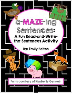 Welcome to the world of sentences mazes: the next GREATEST thing to hit your classroom!  Don't forget to check the…