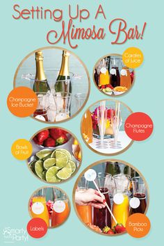 New baby shower drinks station mimosa bar ideas - Drink station ideas Brunch Punch, Brunch Bar, Brunch Ideas, Brunch Buffet, Baby Shower Drinks, Baby Shower Brunch, Shower Baby, Mini Bars, Birthday Brunch