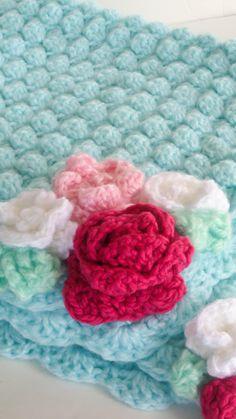 Baby Crochet Blanket Flower Pink and Aqua Baby Blanket. $55.00, via Etsy.