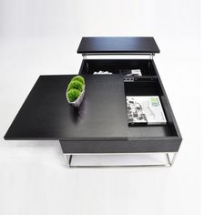 Modern Black Transforming Coffee Table with Storage Aria.