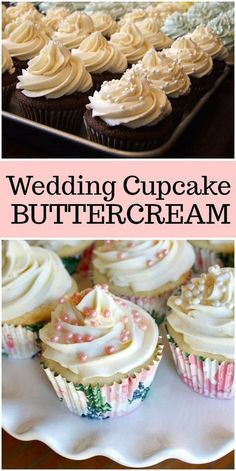 This Wedding Cupcake Buttercream recipe works very well in a piping bag, making it a natural for decorating wedding cakes and cupcakes. Baking Recipes, Cookie Recipes, Dessert Recipes, Food Cakes, Cupcake Cakes, Cupcake Frosting Recipes, Wedding Cupcake Recipes, Buttercream Icing For Cupcakes, Wedding Cake Cupcakes