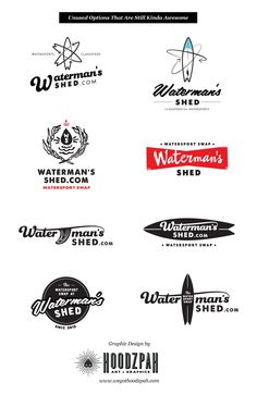 Waterman's Shed Watersport Swap Logo Design - | We Got Hoodzpah. #logo #logodesign #graphicdesign #retro #vintage #surfing #hoodzpah #surfboard #designprocess