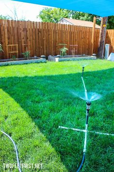 To Build A Simple Sprinkler . how you can build a simple sprinkler to water a larger area too .How To Build A Simple Sprinkler . how you can build a simple sprinkler to water a larger area too . Above Ground Sprinkler System, Water Sprinkler System, Outdoor Projects, Garden Projects, Outdoor Crafts, Outdoor Jobs, Outdoor Ideas, Garden Ideas, Rooftop Garden