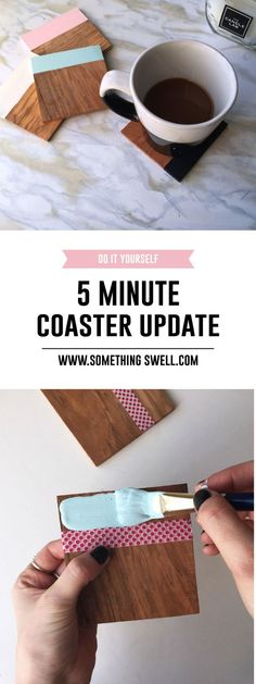 Five MInute Coaster Update // Want to spruce up your boring old coasters but only have five minutes? No worries! Click through for the full super easy DIY painted coaster tutorial! #somethingswell