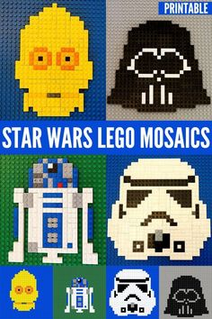 Star Wars Lego Mosaics Free Printable Patterns. A fabulous construction challenge for school aged children.