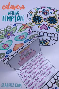 This calavera writing template for Día de los Muertos / Day if the Dead includes a decorated template to color, a blank template to decorate, and writing prompts