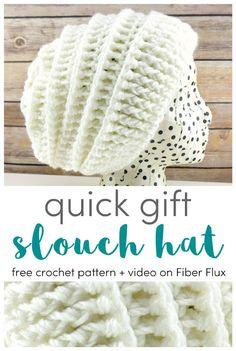 Quick Gift Slouch Hat 12 Weeks of Gifting Series Free Crochet Pattern Video on Fiber Flux # Bonnet Crochet, Crochet Beanie Pattern, Free Crochet Hat Patterns, Crochet Slouch Beanie, Doily Patterns, Amigurumi Patterns, Dress Patterns, Crochet Stitches, Knit Crochet