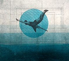 """Rhed Fawell """"Dive"""" collage and screenprint"""