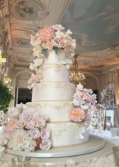 Chic blush flower white and gold wedding cake; Featured Cake: Ana Parzych Cakes
