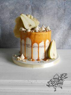 Caramel drip cake with pear - Cake by Petra Krátká