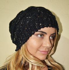 Slouchy beanie hat BLACK TWEED crochet womens by BeanieVille