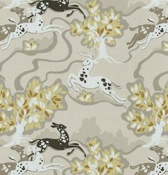 """From the """"Fashion Forward"""" collection by Waverly this whimsical print of leaping deer in amongst leafy trees is a beautiful, soft pallet of dove grey, putty, chamois-gold, rye brown and charcoal grey with white.  $26.95 USD per yard"""