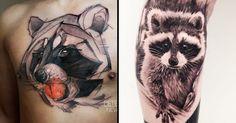 22 Quizzical Raccoon Tattoos