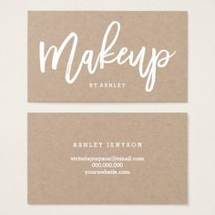 Makeup artist chic typography charcoal rose gold business card makeup artist elegant typography on kraft business card reheart Choice Image