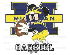 Mickey Inspired Michigan Wolverines Football  by TinyTeammates, $5.00