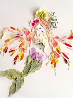 Mermaid of flower petals Real Mermaids, Mermaids And Mermen, Arte Floral, Fleurs Diy, Flower Rangoli, Pressed Flower Art, Mermaid Art, Mermaid Paintings, Mermaid Drawings
