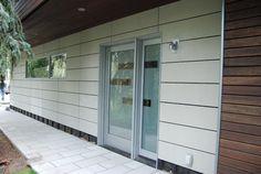 """Minerit"" brand Fiber Cement Panels Exterior Wall Materials, Building Materials, Modern Exterior, Exterior Design, Brick Veneer Panels, Small House Renovation, Siding Options, House Yard, Remodeling Mobile Homes"