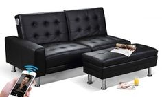 This contemporary sofa bed is ideal for saving space and relaxing while listening to favourite tunes at the Bluetooth stereo speakers Sofa Bed, Couch, Indoor Outdoor Furniture, Stereo Speakers, Affordable Furniture, Space Saving, Ottoman, Relax, Contemporary Sofa