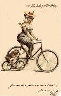 Im XX. JAHRHUNDERT, Radfahrerin mit Hund an der Leine, Verlag Schwerdtfeger Berlin, 24.3.1900 | For sale on Delcampe