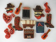creative cowboy cookies! Farm Cookies, Cute Cookies, Cupcake Cookies, Sugar Cookies, Cowboy Party Invitations, Cowboy Theme Party, Cookie Designs, Cookie Ideas, Cupcake Ideas