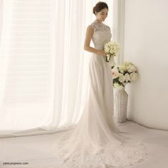 RP: Chinese Wedding Gown Lace Modern Bridal Qipao Sweep Train