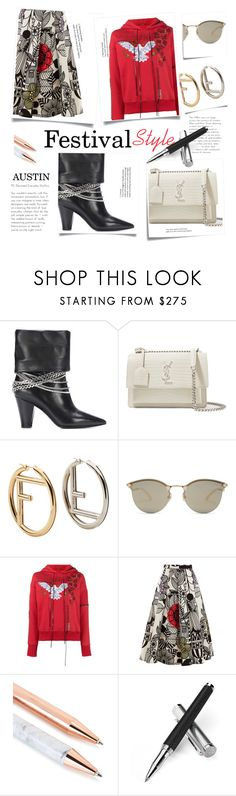 """""""TS 23 Mar 2018 Festival Style"""" by sara-cdth ❤ liked on Polyvore featuring self-portrait, Post-It, Yves Saint Laurent, Fendi, Alexander McQueen, Junya Watanabe, Aspinal of London, festivalstyle, Packandgo and SXSW"""