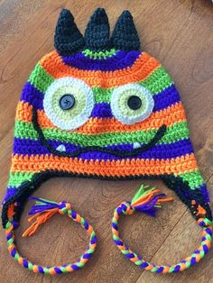 Monster Crochet Hat Pattern by DesignsByMeganG on Etsy Crochet Monster Hat, Crochet Animal Hats, Crochet Monsters, Crochet Baby Hats, Crochet For Kids, Free Crochet, Double Crochet Beanie Pattern, Half Double Crochet, Fall Patterns
