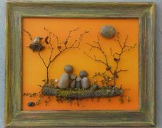 Pebble Art / Rock Art Family of Five in an open by CrawfordBunch