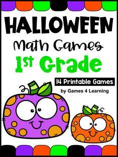 Halloween Math Games Grade with Pumpkins, Bats, Ghosts, Spiders etc Third Grade Math Games, First Grade Activities, Math Activities, Math Board Games, Fun Math Games, Halloween Math, Halloween Ideas, Homeschool Math, Homeschooling